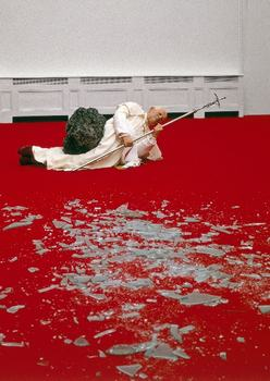 Over the course of his career, Cattelan has been known for pieces both slapstick and bold. One of his more sensational works is from 1999 -- showing the Pope struck by a meteor.