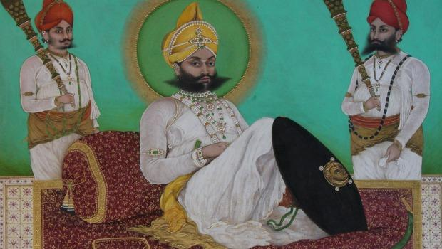"""Portrait of Sarup Singh with Attendants"" by Tara, 1851."