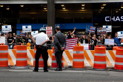 Protests near ground zero on the 10th anniversary of the September 11 attacks