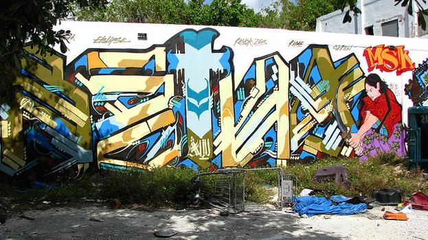 In the West Village, L.A.-based graffiti artist and muralist RETNA will get his first solo exhibit in New York. Above, an image of an intervention in Miami.