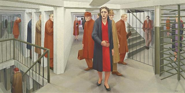 The Whitney's 'Real/Surreal' exhibit features plenty of works intended to unsettle -- such as George Tooker's 1950 painting, 'The Subway.'