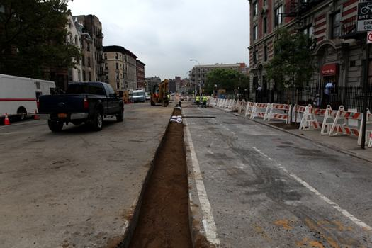 Road in Harlem after the water main break.