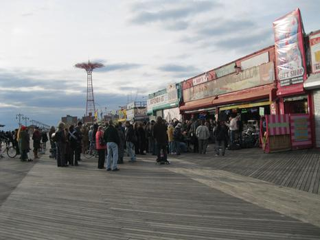 The crowd of protesters spiled outside Ruby's Bar on the Coney Island boardwalk on Saturday