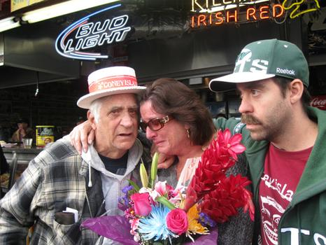 Ruby's regulars Jim and Jason Shannon comforted one of Ruby's owners, Melody Sarrel