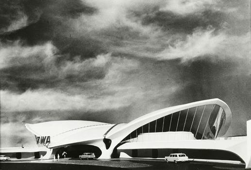 "This 1962 gelatin silver print of New York's TWA Terminal designed by Eero Saarinen is part of the ""Parabolas to Post-Modern: Architecture from the Academy's Collection"" exhibition."
