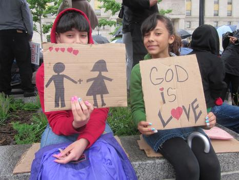 Opponents of same-sex marriage included young children