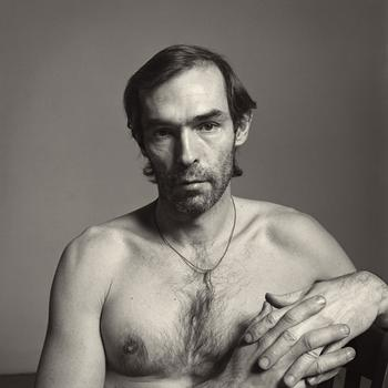 """The exhibit includes a number of self-portraits by and of Hujar, including this one, """"Self-Portait (with String around Neck)"""" from 1980."""