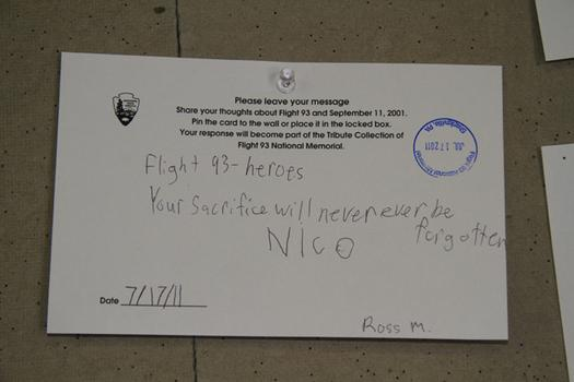 The public can leave messages on cards displayed in the museum.