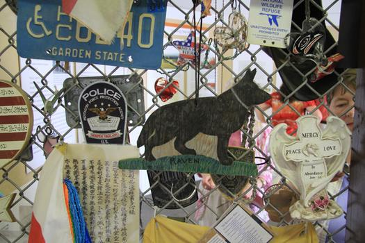 The community ambassadors curated a display of some of the objects left as tributes at the memorial.