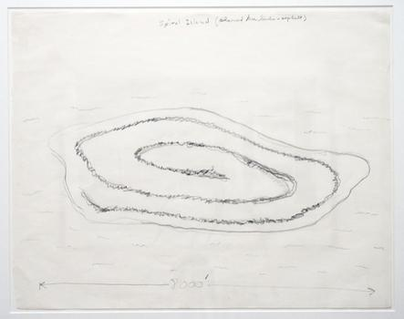 Also at Lehmann Maupin, a drawing by renowned land artist Robert Smithson, of 'Spiral Jetty' fame: 'Spiral Island (Charred Tree Limbs and Asphault) S3'.