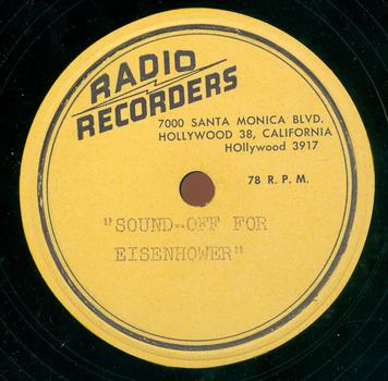 "Record label for ""Sound Off for Eisenhower"""