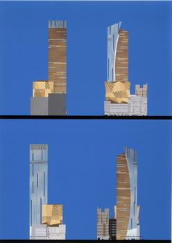 This computer generated print shows the Westin New York Hotel in Times Square that Laurinda Spear designed (1994-2002).