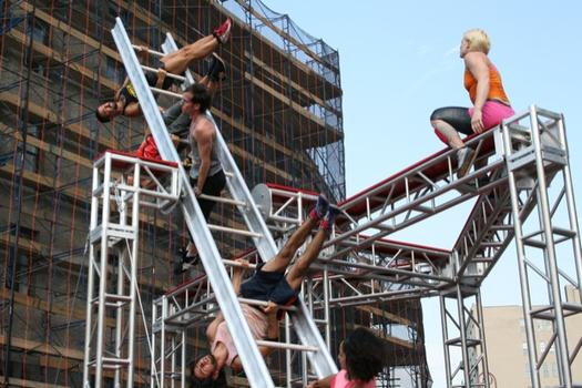 The routine is choreographed by Elizabeth Streb, a dancer and choreographer who likes to incorporate mechanical elements into her work. Some of the moves are downright death-defying.