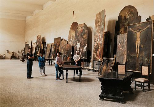 In 'Spies in the House of Art,' the Met explores ways that museums inspire artists, such as this image by Thomas Struth of restorers at San Lorenzo Maggiore in Naples, from 1988.