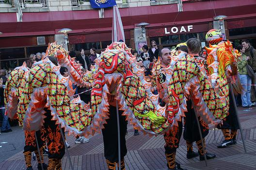 Preparing for the traditional lion dance, Birmingham, UK