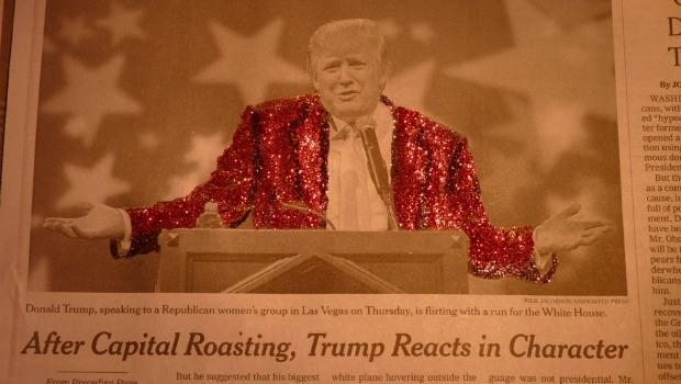 Charlotte Exantus decided to skip the Osama Bin Laden headlines and remixed a photo of Donald Trump from when he addressed a Republican women's group in Las Vegas.
