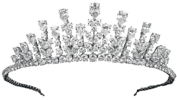 This 1976 Van Cleef diamond, platinum and gold tiara was worn by H.S.H. Princess Grace of Monaco.