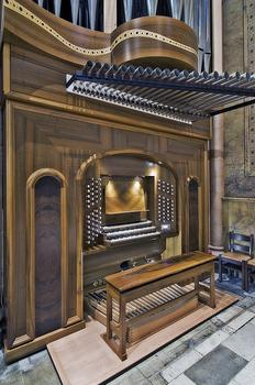 One of the two consoles in the Manton Memorial Pipe Organ.