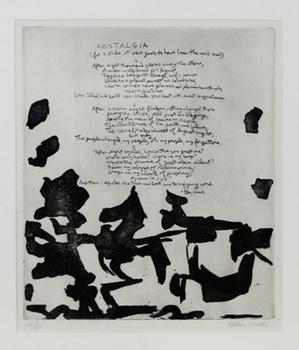 Poet Peter Viereck  wrote 'Nostalgia' above Spanish-born Abstract Expressionist painter Esteban Vincente's artwork.