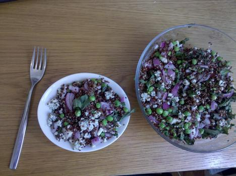 Lunch: Quinoa, shell peas, red onion, basil, gorgonzola cheese