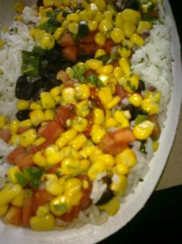 Lunch: Chipotle vegetarian rice bowl, including rice, black beans, corn and a side of guacamole