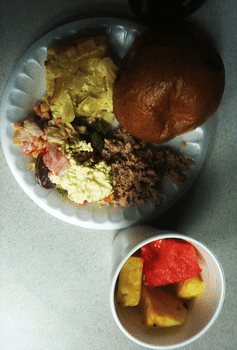 Lunch: Kugel; tuna fish; egg salad; Israeli salad; beet salad; whole wheat roll; watermelon and pineapple chunks; water