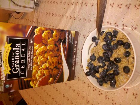 Breakfast: Wegman's natural granola cereal with blueberries