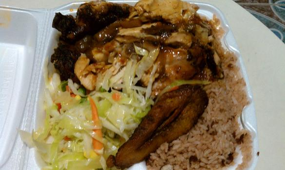 Lunch: jerk chicken and rice