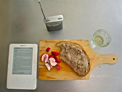 Lunch: duck pate (with pork and mushrooms) on a ¾ inch slice of toasted bread; white wine; cut radishes