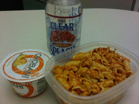 Dinner: ground turkey with tomato sauce and pasta; Chobani Greek yogurt, peach; Stop Shop Clear Splash cranberry-flavored water