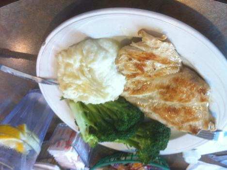 Dinner: grilled chicken; mashed potatoes; broccoli; water with lemon