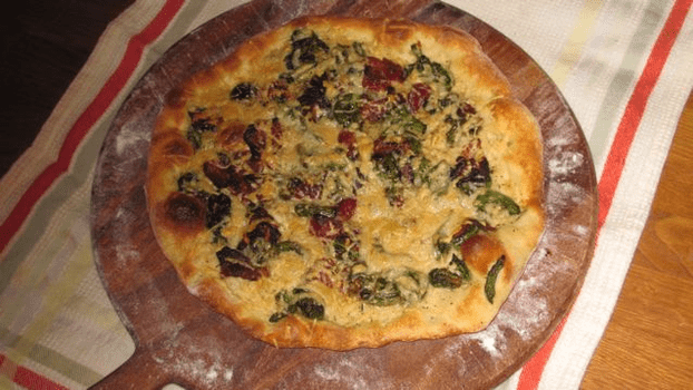 Dinner: homemade thin-crust pizza with asparagus, bacon and gruyere cheese