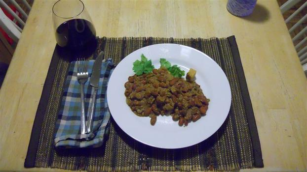 Dinner: kidney beans in a spicy yogurt coriander sauce with tofu