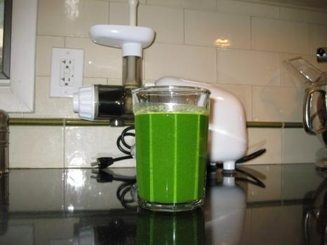 Breakfast: 16 ounces of green juice (Swiss chard, dandelion greens, wheatgrass, cilantro, cucumber, celery, ginger, lemon)