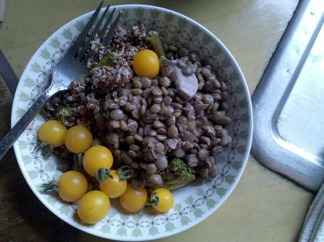 Lunch: lentils with quinoa and cherry tomatoes