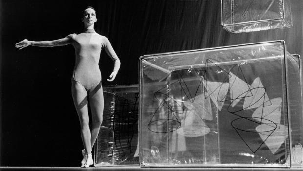 """Walkaround Time,"" performed in 1968. The set was designed by Jasper Johns but was inspired by Marcel Duchamp's ""The Bride Stripped Bare by Her Bachelors, Even."""