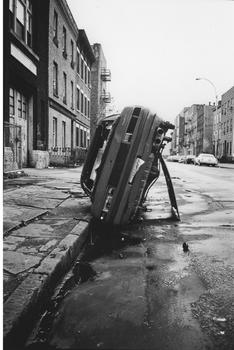 Cathcart also has a series of pictures devoted to the stripped, stolen cars that were abandoned around south Williamsburg in the late 1980s.