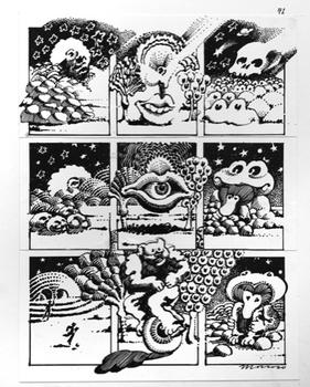 At Andrew Edlin Gallery, a tribute to the psychedelic masters of Zap Comix, the alternative comics house of the '60s and '70s. Above, a work by Victor Moscoso.