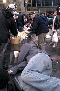 Anti-Wall Street protesters regroup for breakfast and rest in Foley Square in Lower Manhattan.