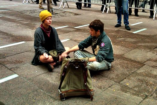 A brief re-occupation of Zuccotti Park before the city re-closed the park.