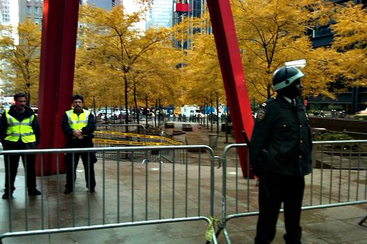 A view of Zuccotti Park Tuesday morning after protesters were told to leave temporarily.