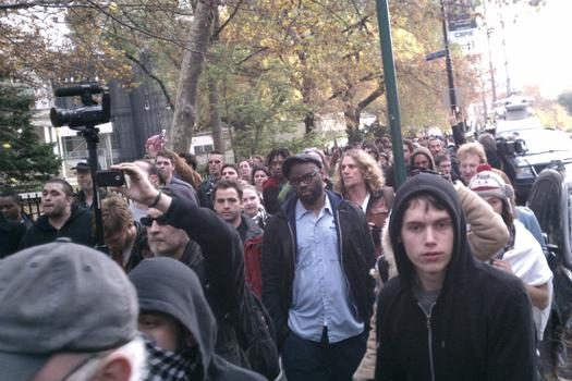 Protesters marched through the streets of Lower Manhattan.