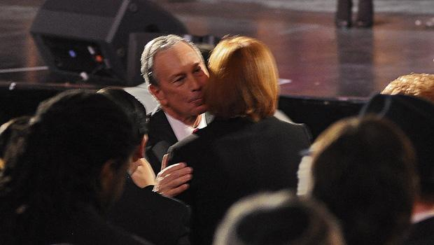 Mayor Bloomberg greeted Council Speaker Christine Quinn before the speech.