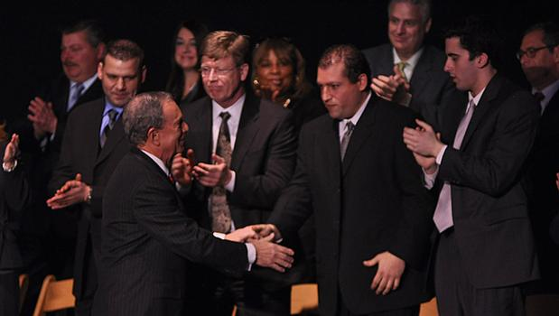 A few business owners from Staten Island were invited to sit on the stage during the mayor's speech.
