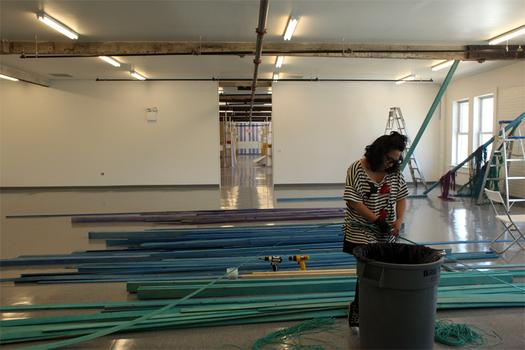 An artist working at the Lower Manhattan Cultural Council's new studio facility on the island