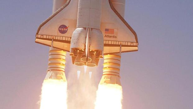 Space shuttle Atlantis soars to orbit from Launch Pad 39A at NASA's Kennedy Space Center in Florida on the STS-132 mission to the International Space Station.