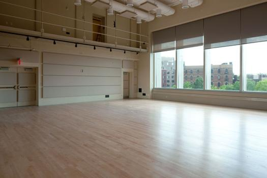 The Rita K. Hillman Studio is 1,600 square feet. It will be used by artists rehearsing or developing work and as a second performance space.