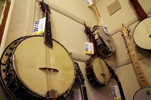 Banjos at Mandolin Brothers.
