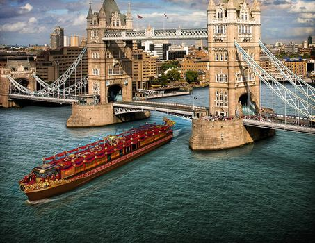 Queen Elizabeth II will travel on the Royal Barge on the River Thames on Sunday.