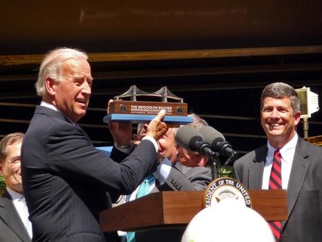 Vice President Joe Biden  is gifted the Brooklyn Bridge